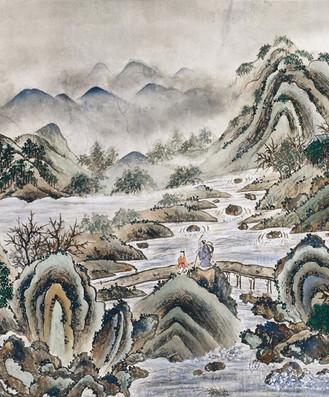 013 何香凝《仿古山水》,1960年