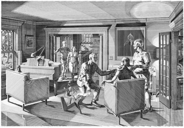 开放的房间:五个雕刻场景(客厅)