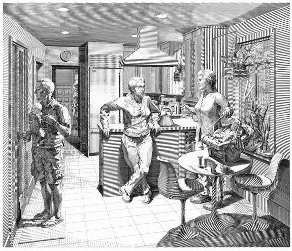 开放的房间:五个雕刻场景(厨房)