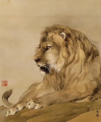 虎 何香凝1910年  26×30cm水墨绢本