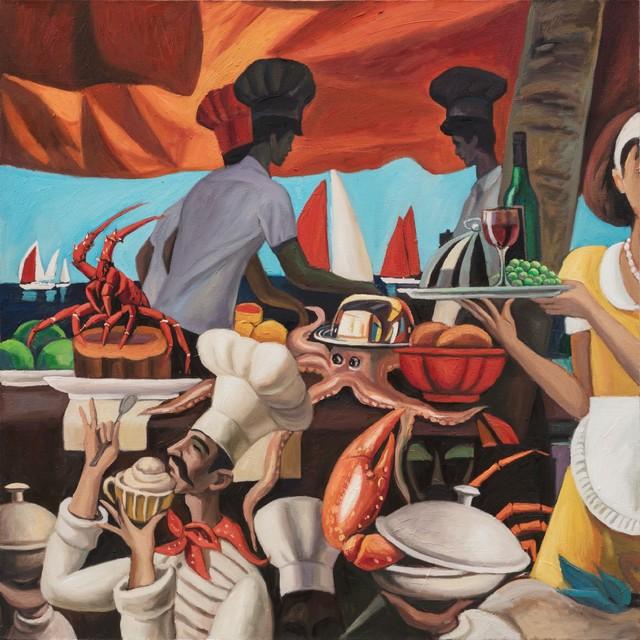 秦琦.南瓜蒸龙虾 Pumpkin-Steamed Lobster 布面油画 Oil on canvas 120x120cm 2019