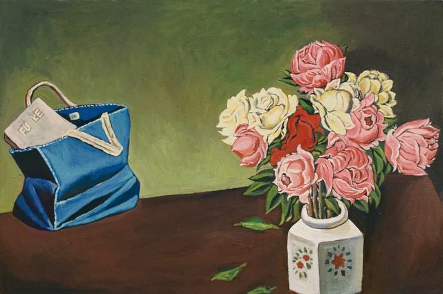 秦琦.皮包中的福柯 Fu Ke in The Portfolio 布面油画 Oil on canvas 100x150cm 2014