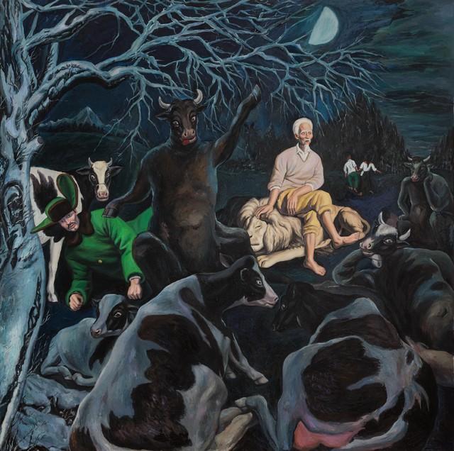 秦琦.半月 Half-Moon 布面油画 Oil on canvas 300x300cm 2019