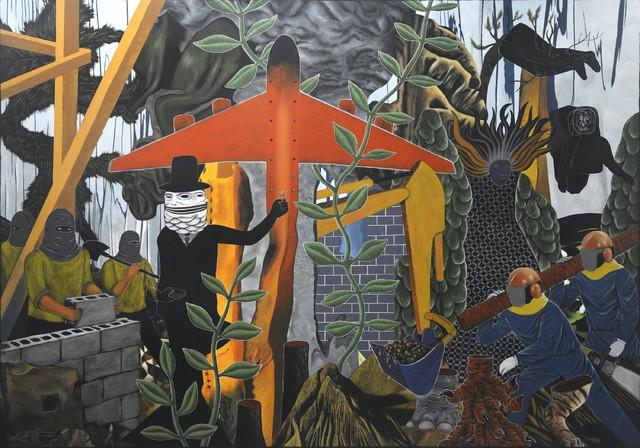 Rodel Tapaya.丢失的铆钉 The Loss of Rivets 布面丙烯 Acrylic on canvas  244x335cm 2018
