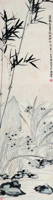 经亨颐《竹石水仙图》,174.5×46.5 cm,水墨纸本,1929年,私人藏。