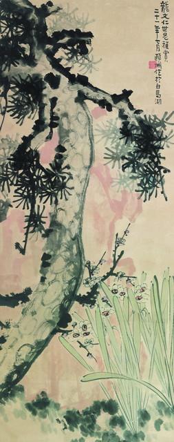 经亨颐《三清图》,123×48.5 cm,设色纸本,1932年,私人藏。