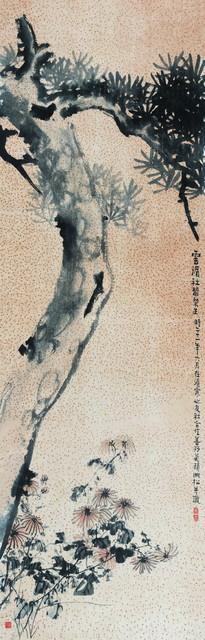 经亨颐《松菊图》,139×44 cm,设色纸本,1932年,私人藏。