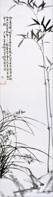 经享颐《兰竹图》,176×46.5cm,水墨紙本,1929年,广州艺术博物院藏