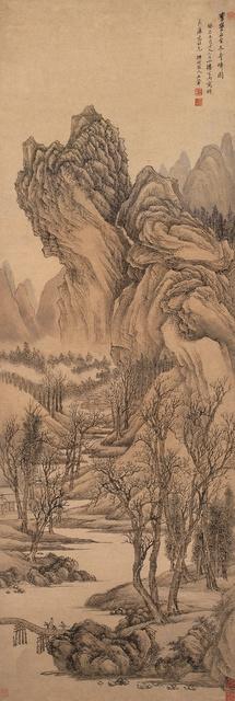 王翚 古木奇峰图 1703年 126.1×42.8cm