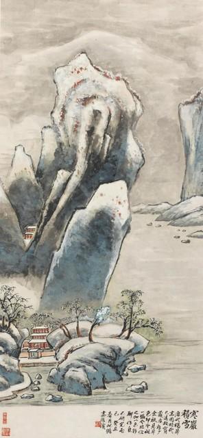 朱屺瞻 寒岩积雪 1973年 122×56cm