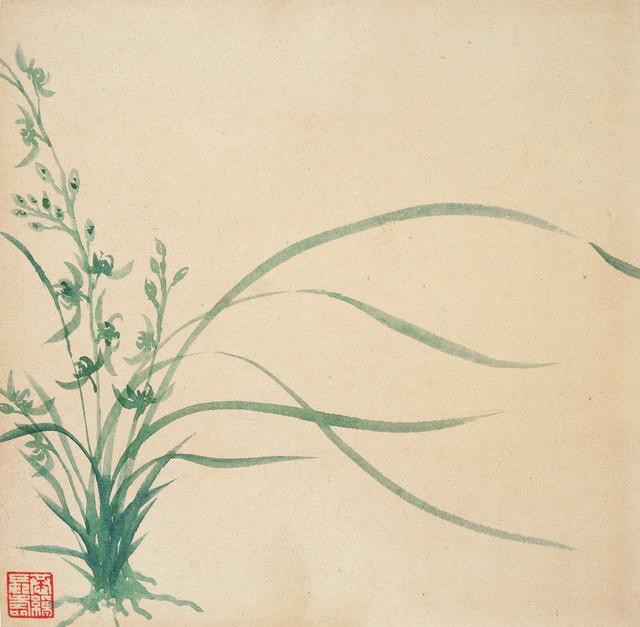 叶恭绰 兰花 纵25厘米 横25厘米 北京画院藏.1